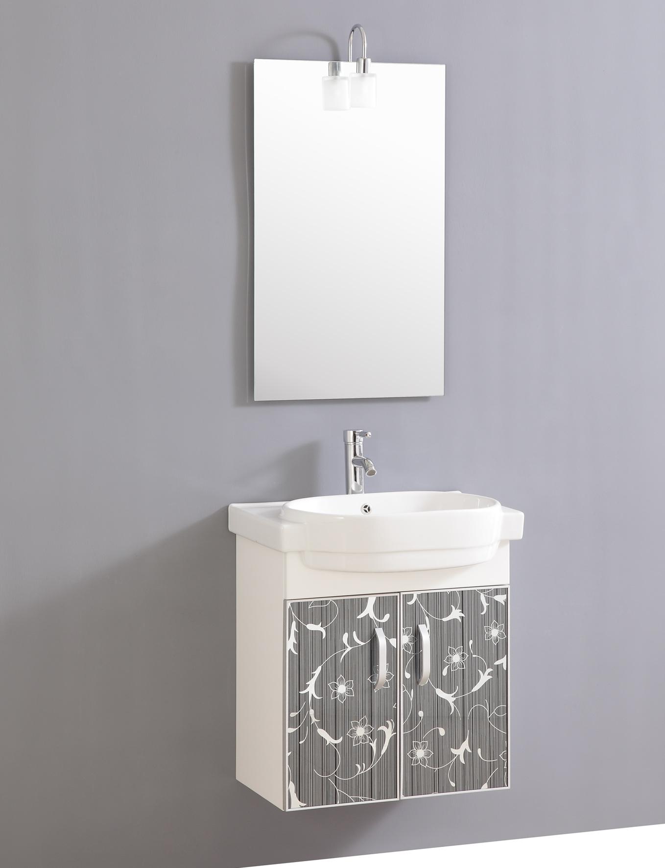 Design Waschtisch Gäste WC mit Armatur Spiegel und Beleuchtung ...